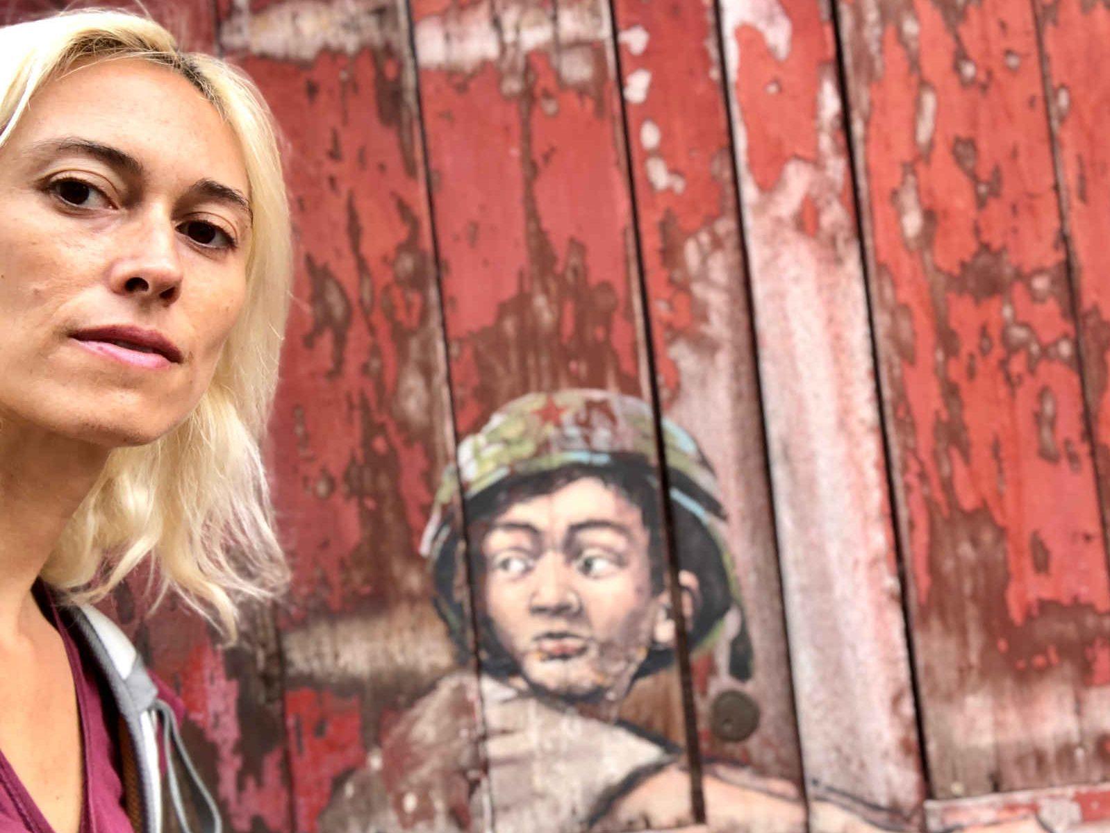 selfie with mural in Penang
