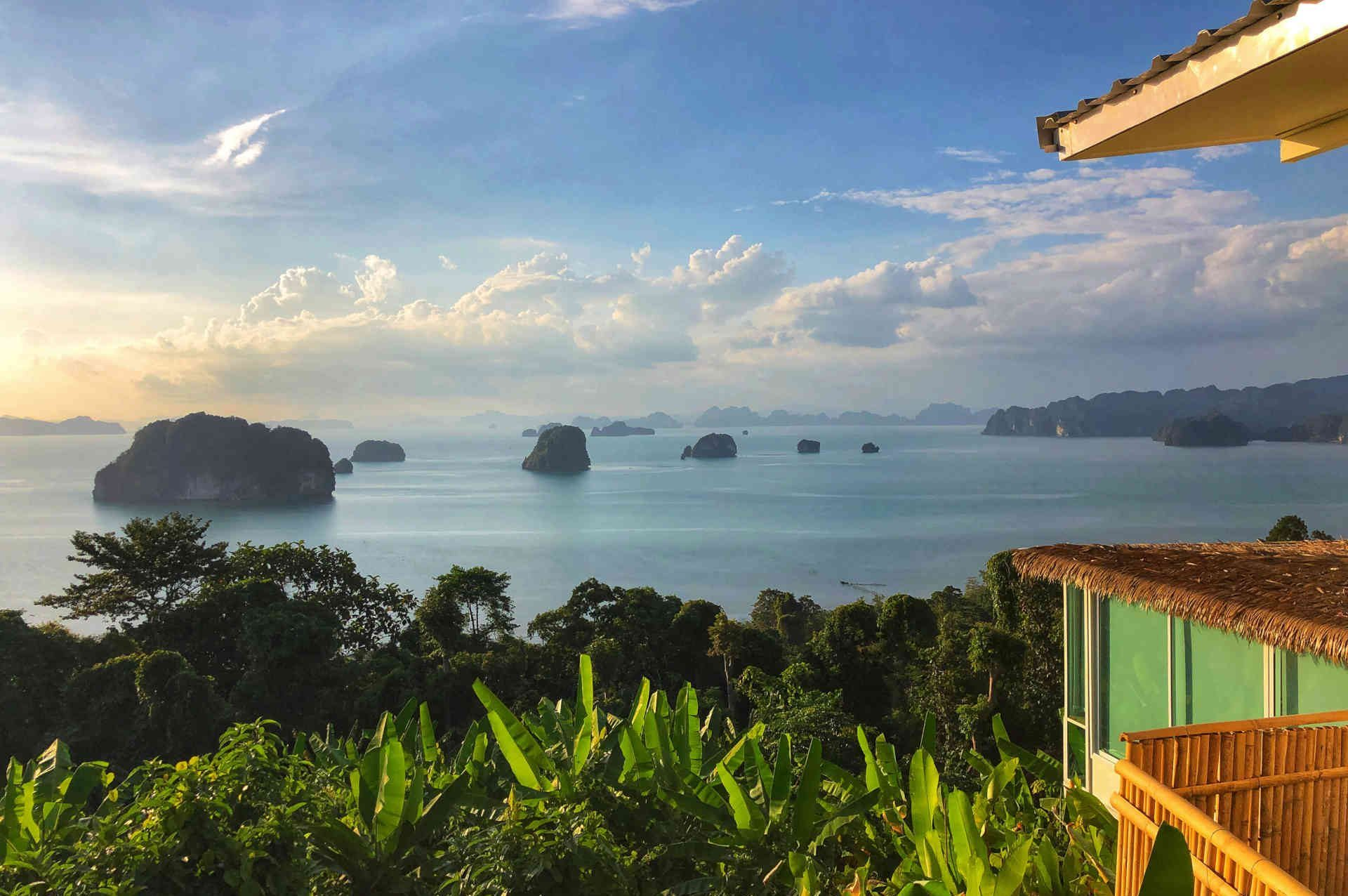 A romantic view of the islands at sunset in Krabi